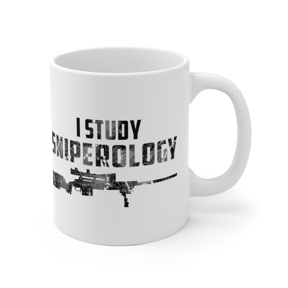 I Study Sniperology - White Ceramic Mug - Sniperology