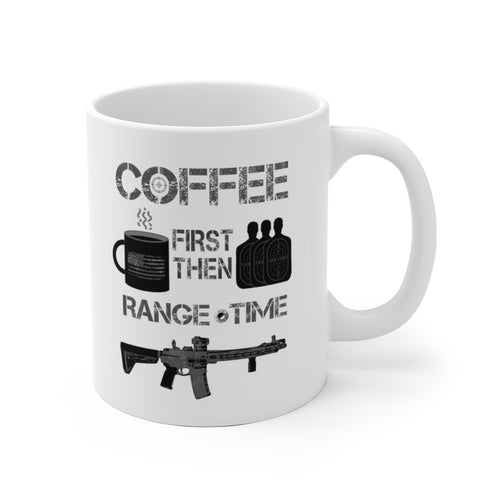 Coffee First - Range Time - White Ceramic Mug - Sniperology