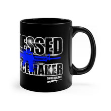 Load image into Gallery viewer, Blessed Peacemaker - Black Coffee Mug 11oz - Sniperology