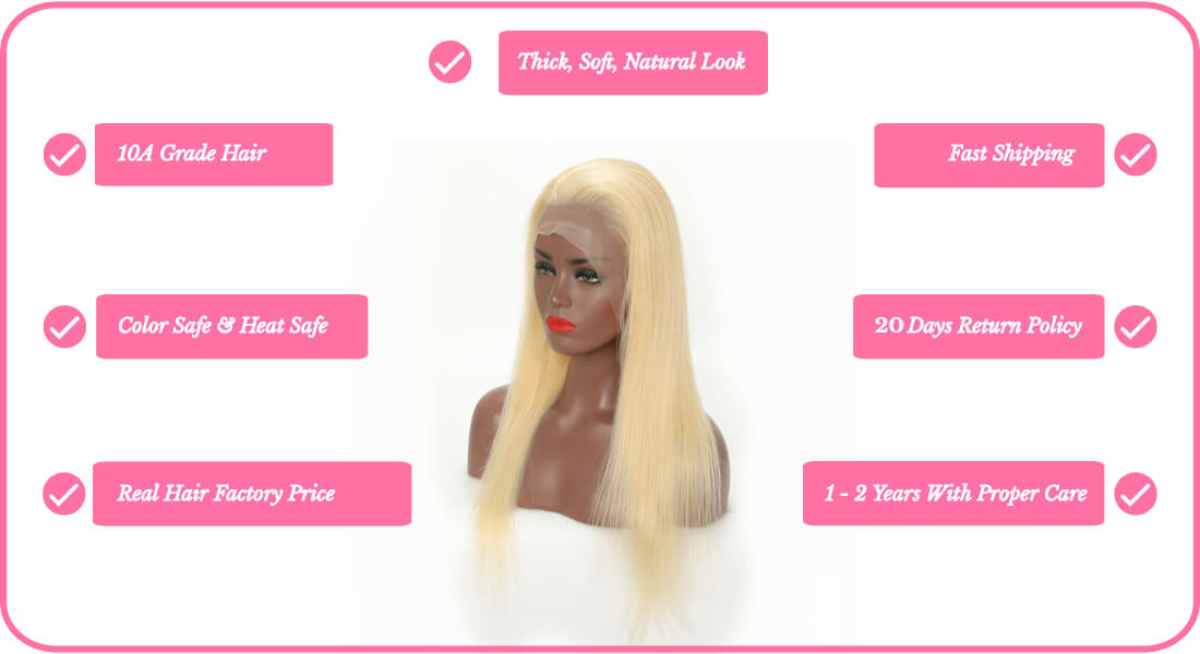 Black Show Hair 613 blonde hair full lace wig straight style