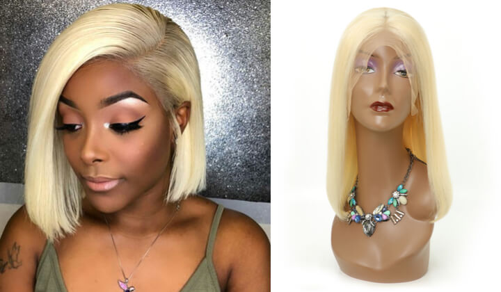 Black Show Hair Blonde  Hair Bob Wigs