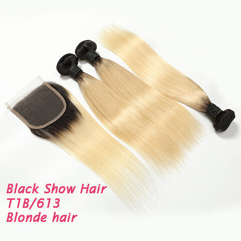Black Show Hair T1B 613 Hair Bundles With Closure