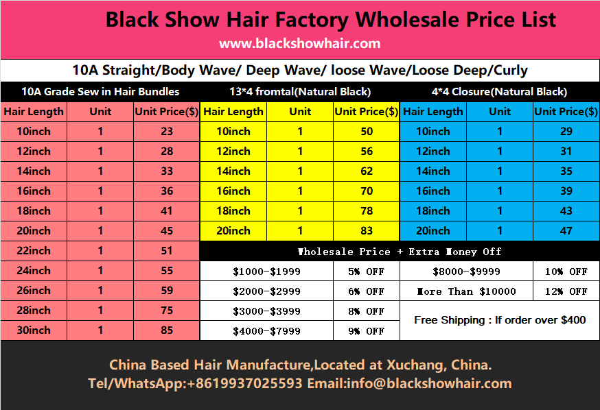 Black Show Hair wholesale price list for hair distributors