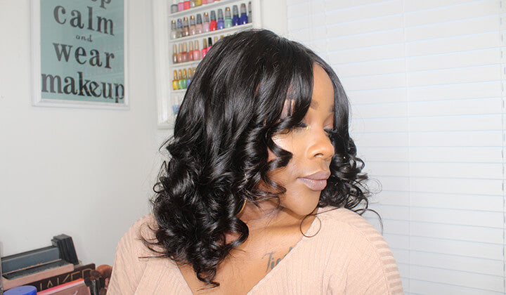 Black Show Hair big curl lace front wigs