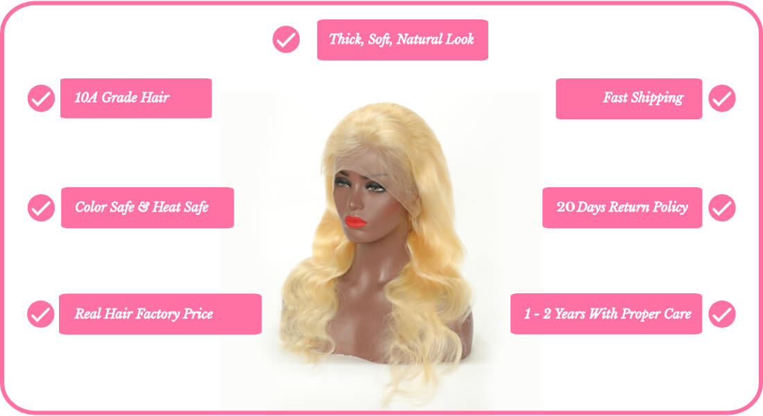 Black Show Hair blonde hair body wave full lace wig