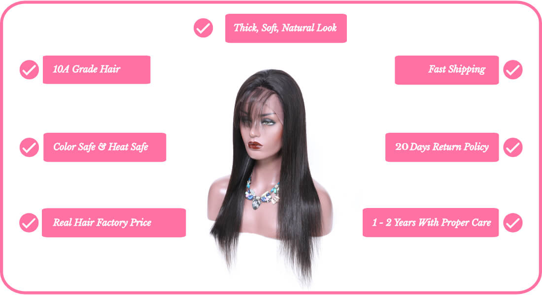 Black Show Hair human hair straight lace frontal wig