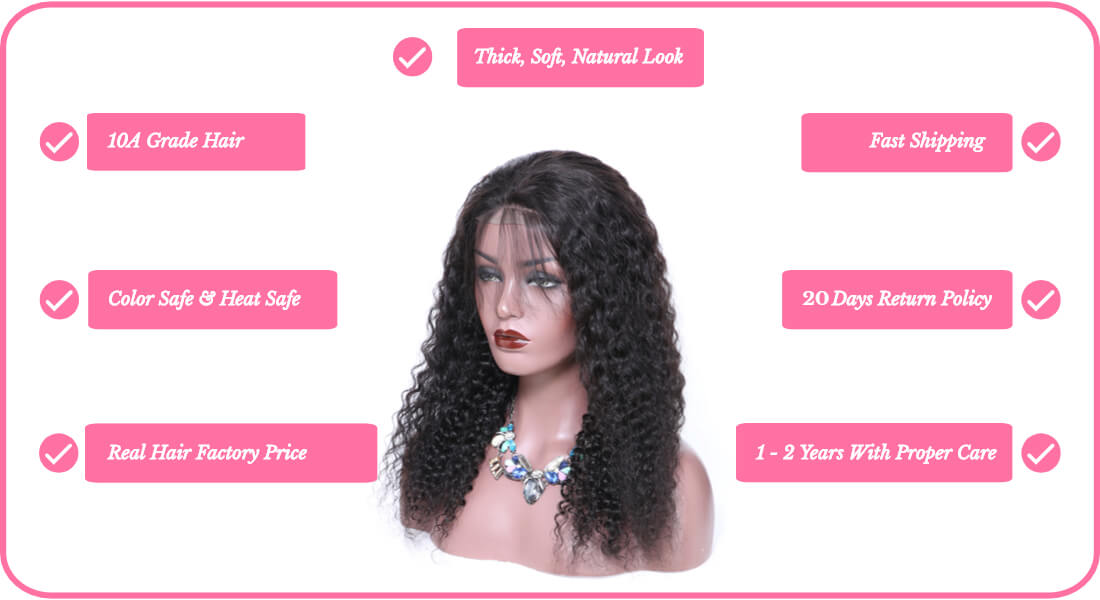 Black Show Hair virgin human hair jerry curl lace front wigs