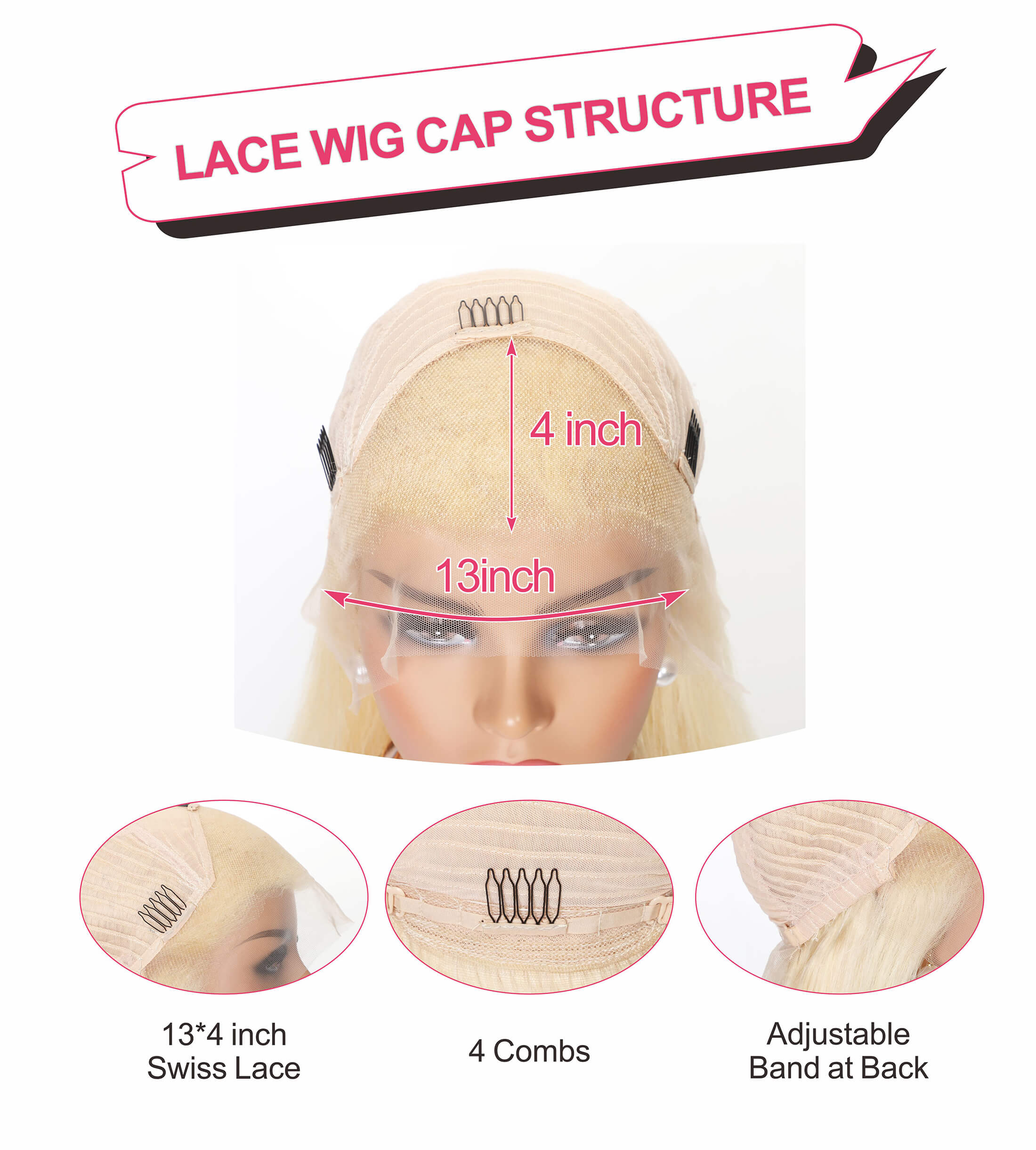 613 blonde hair wig lace cap