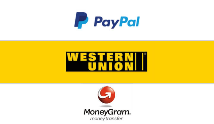 paypal Western Union and MoneyGram