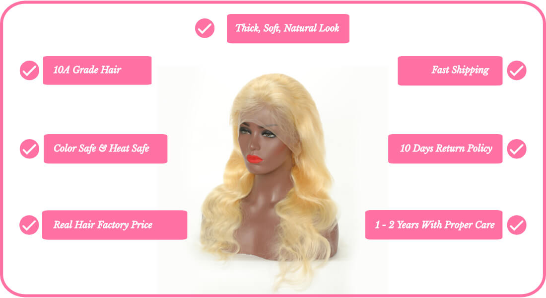 real human hair 613 blonde body wave full lace front wigs