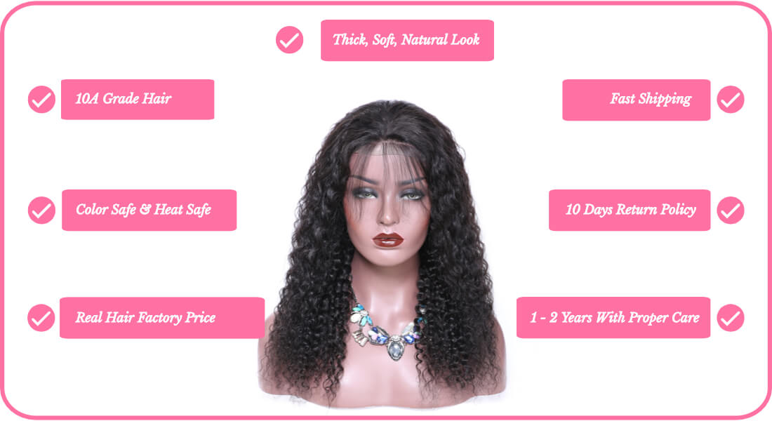 virgin human hair jerry curl lace frontal wigs for black women