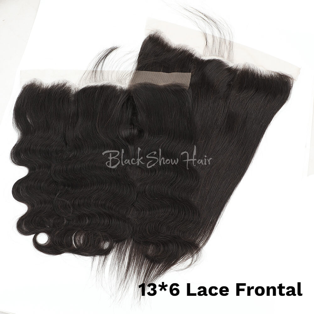 Black Show Hair 13-6 lace frontal natural color virgin human hair