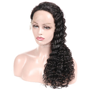 Deep Wave Human Hair Full Lace Wig - Black Show Hair
