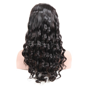 Loose Deep Human Hair Full Lace Wig - Black Show Hair
