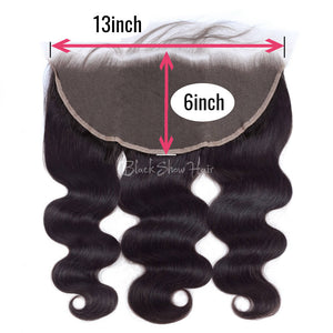 Black Show Hair straight 13-6 lace frontal natural color virgin hair