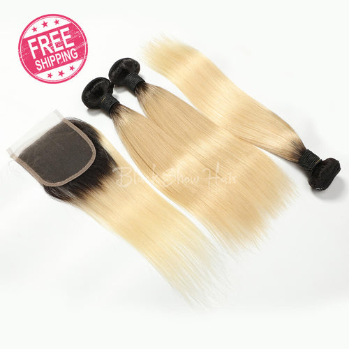Ombre Blonde 613 Hair Straight Bundle Deals - Black Show Hair