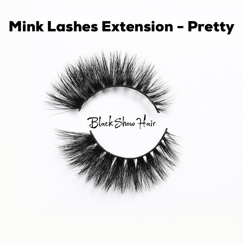 3D Mink Lashes Extension - Pretty - Black Show Hair
