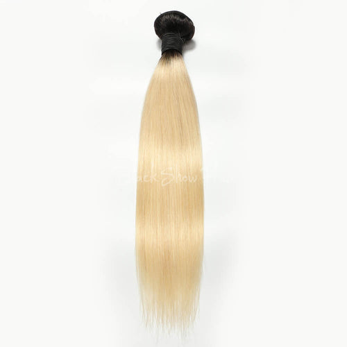 T1b/613 Ombre Blonde Hair Bundle Silky Straight - Black Show Hair