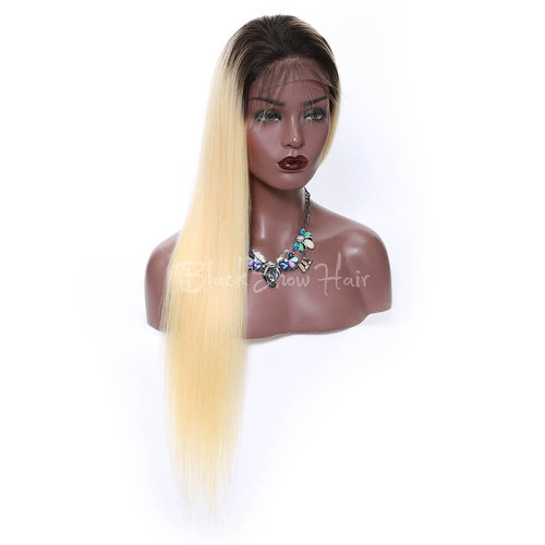 human ombre blonde straight hair lace front wigs - Black Show Hair