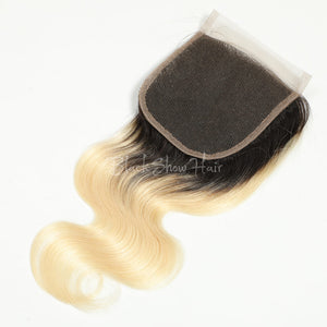 t1b/613 ombre Blonde Hair Body Wave Lace Closure - Black Show Hair