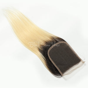 t1b/613 ombre Blonde Straight Lace Closure - Black Show Hair
