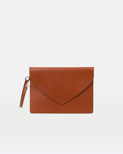 MODHER Envelope Clutch in Golden Brown vegetable tanned leather#color_golden-brown