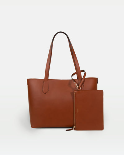 MODHER tote bag in Brown vegetable tanned Italian leather#color_golden-brown