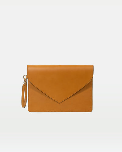 MODHER Envelope Clutch in Yellow malto vegetable tanned leather#color_yellow-malto