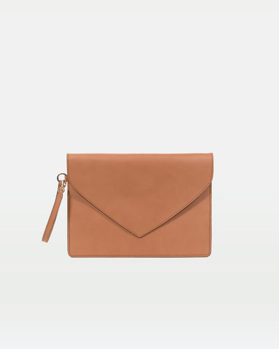 MODHER Envelope Clutch in Naturale vegetable tanned leather#color_naturale