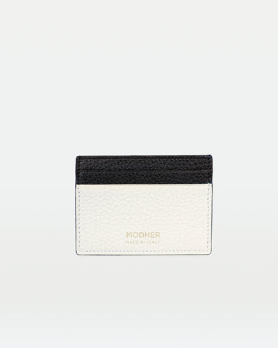 MODHER Leather credit card holder#color_white-black