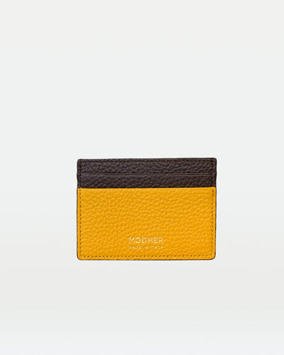 MODHER Leather credit card holder#color_yellow-brown
