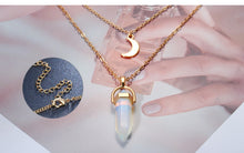 Load image into Gallery viewer, Moon & Hexagonal Crystal Necklace
