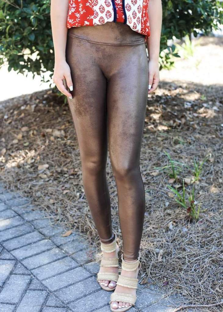 SPANX Faux Leather Leggings Bronze