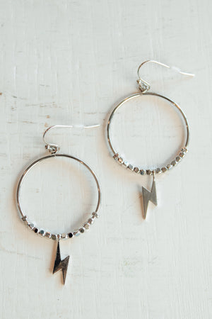 Silver Lightning Dangle Hoops