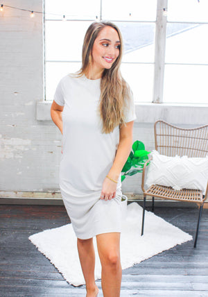 Pearl Gray Tee Dress