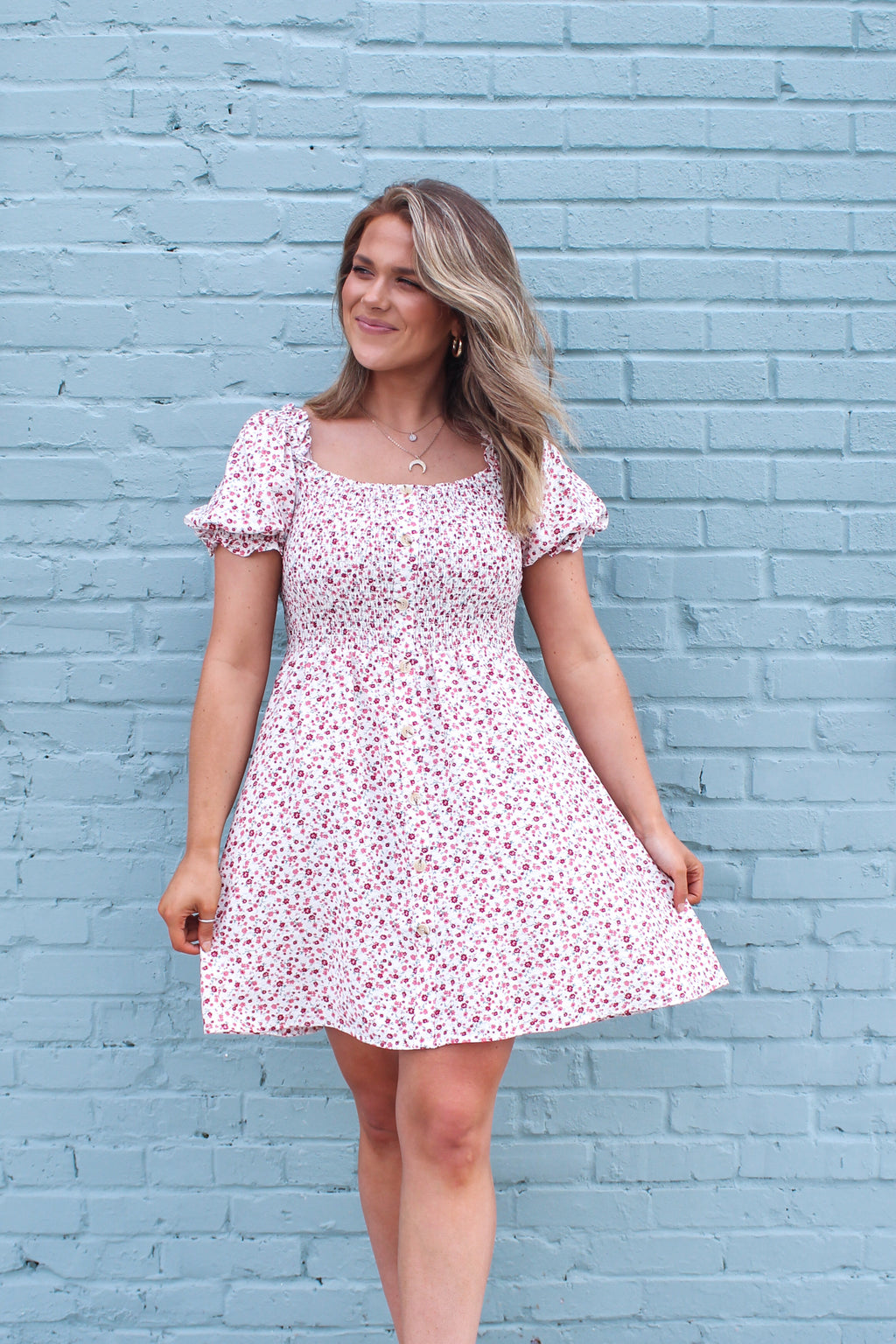 Walking on Sunshine Puff Sleeve Dress