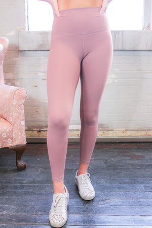 High Waisted Active Leggings -Vintage Mauve