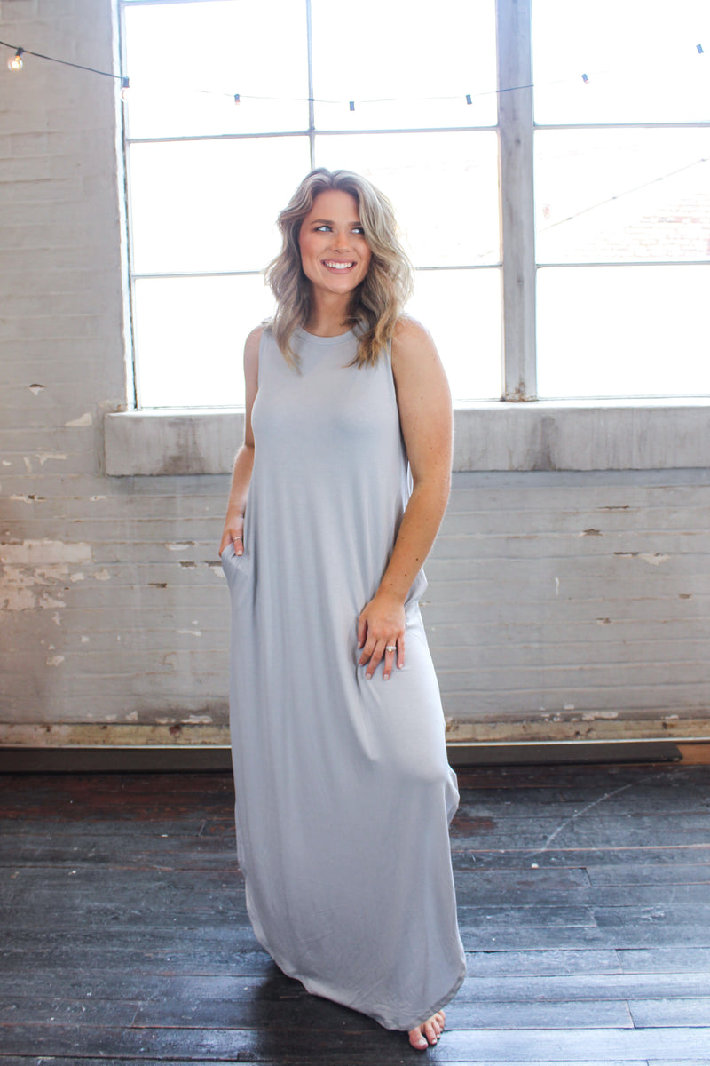 Summer Sleeveless Side Slit Maxi -Cloud Grey