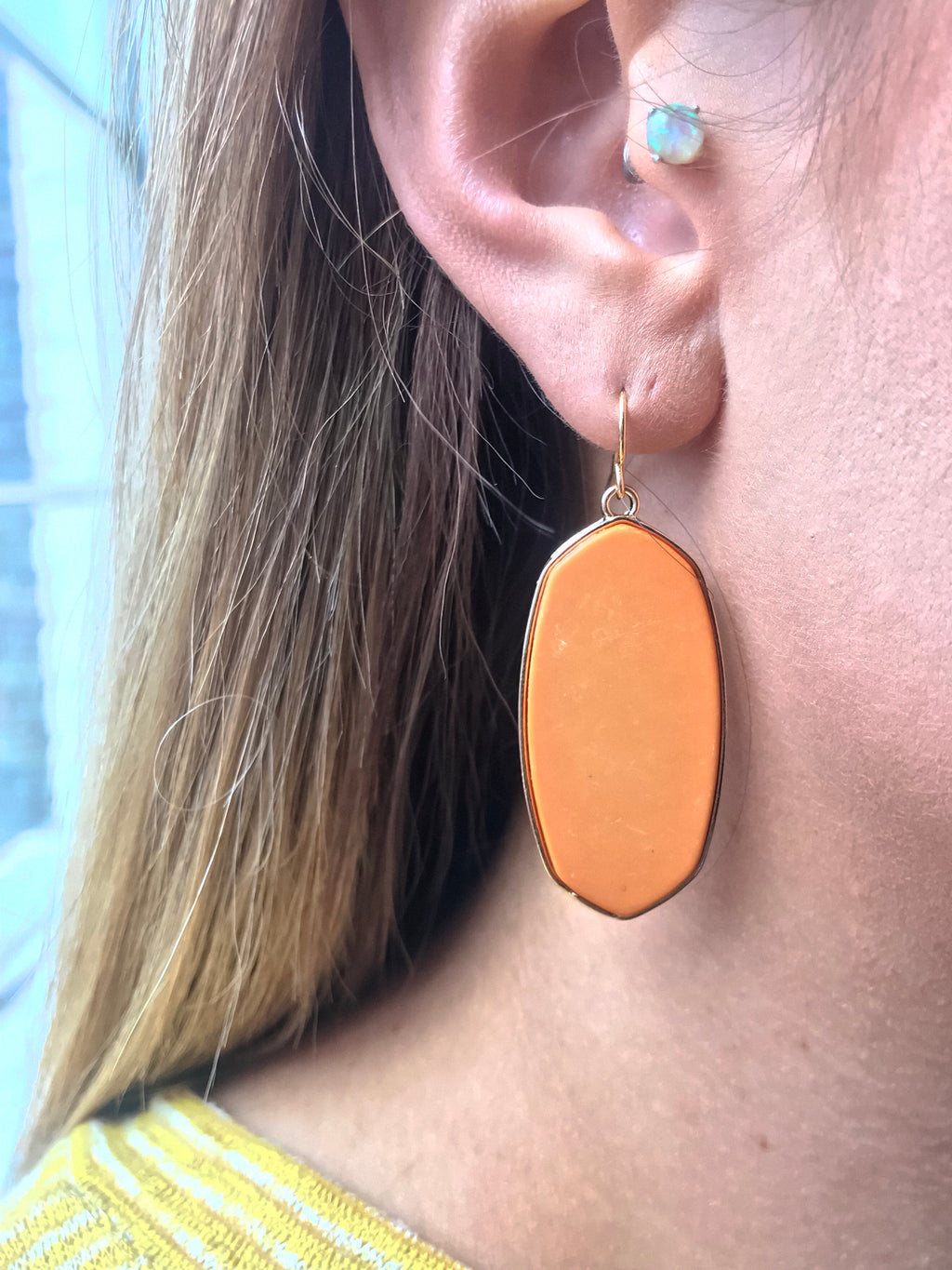Spade Block Earrings -Orange