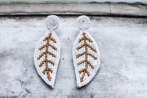 White Felt Beaded Feather Earrings