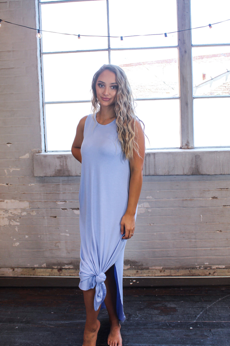 Summer Sleeveless Side Slit Maxi Dress -Spring Blue