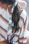 Floral Scrunchie Silk Hair Scarf