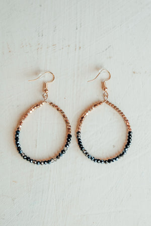 Sparkle Beaded Circle Hoops -Black