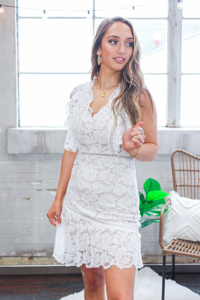 Lacey Floral White Ruffle Dress