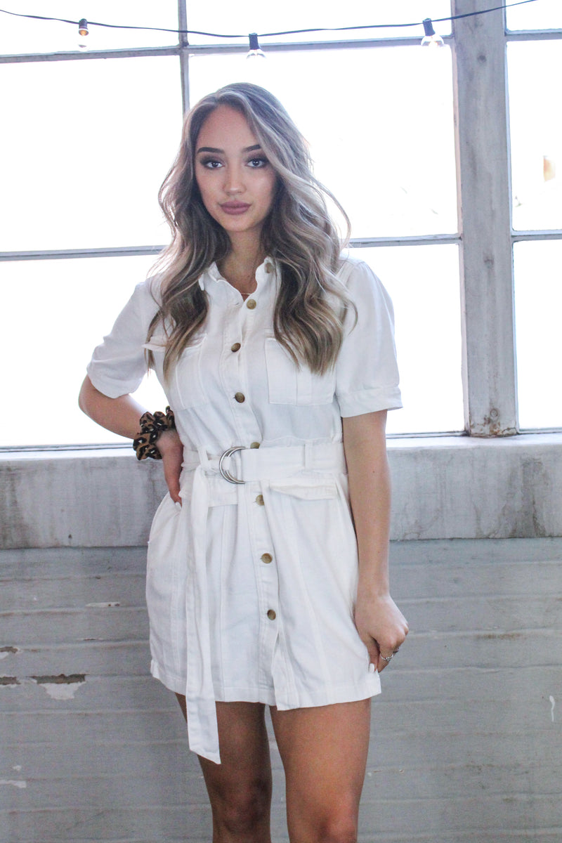 Willa White Denim Utility Dress