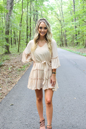 Tatum Tiered Frill Dress -Natural