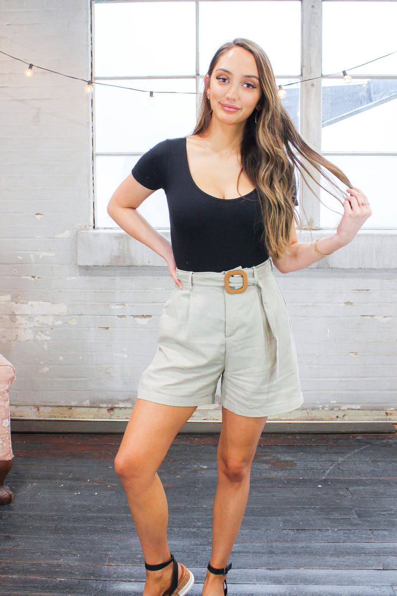 Taupe Linen Buckle Shorts