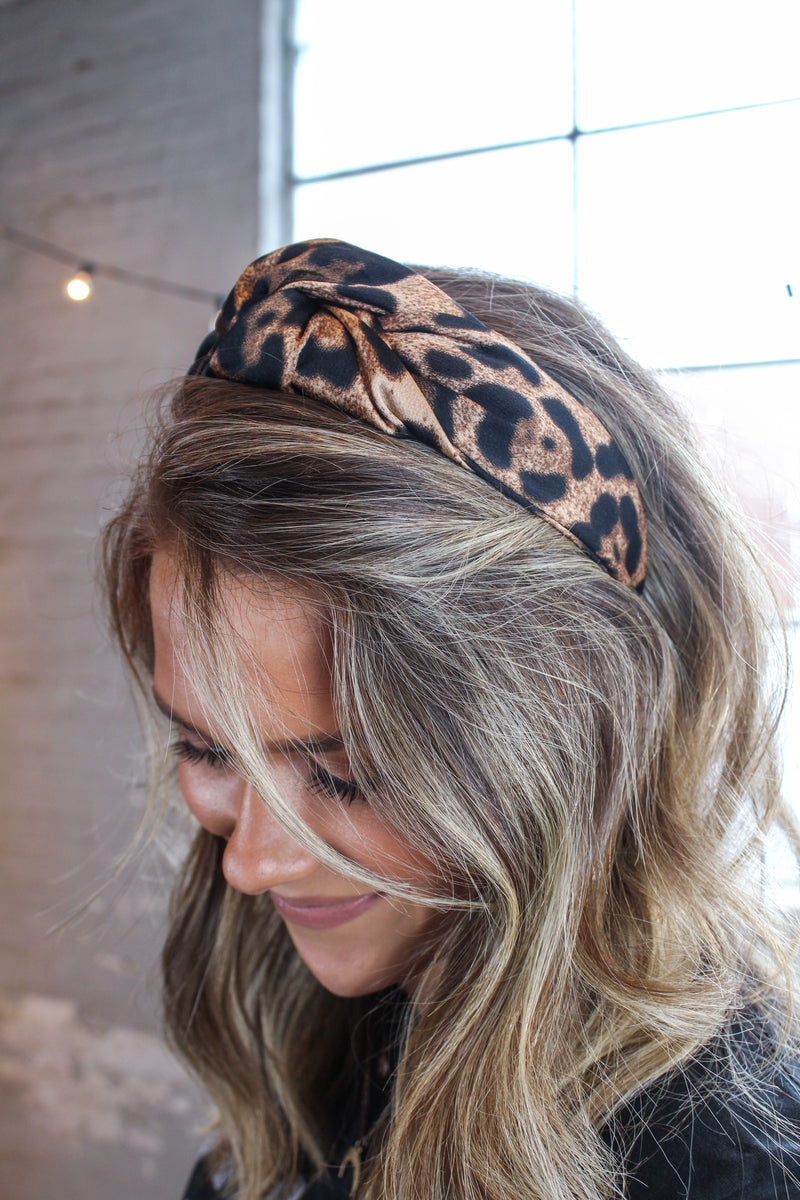 Wide Leopard Knot Headband