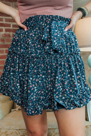 Tatum Tiered Floral Skirt -Navy