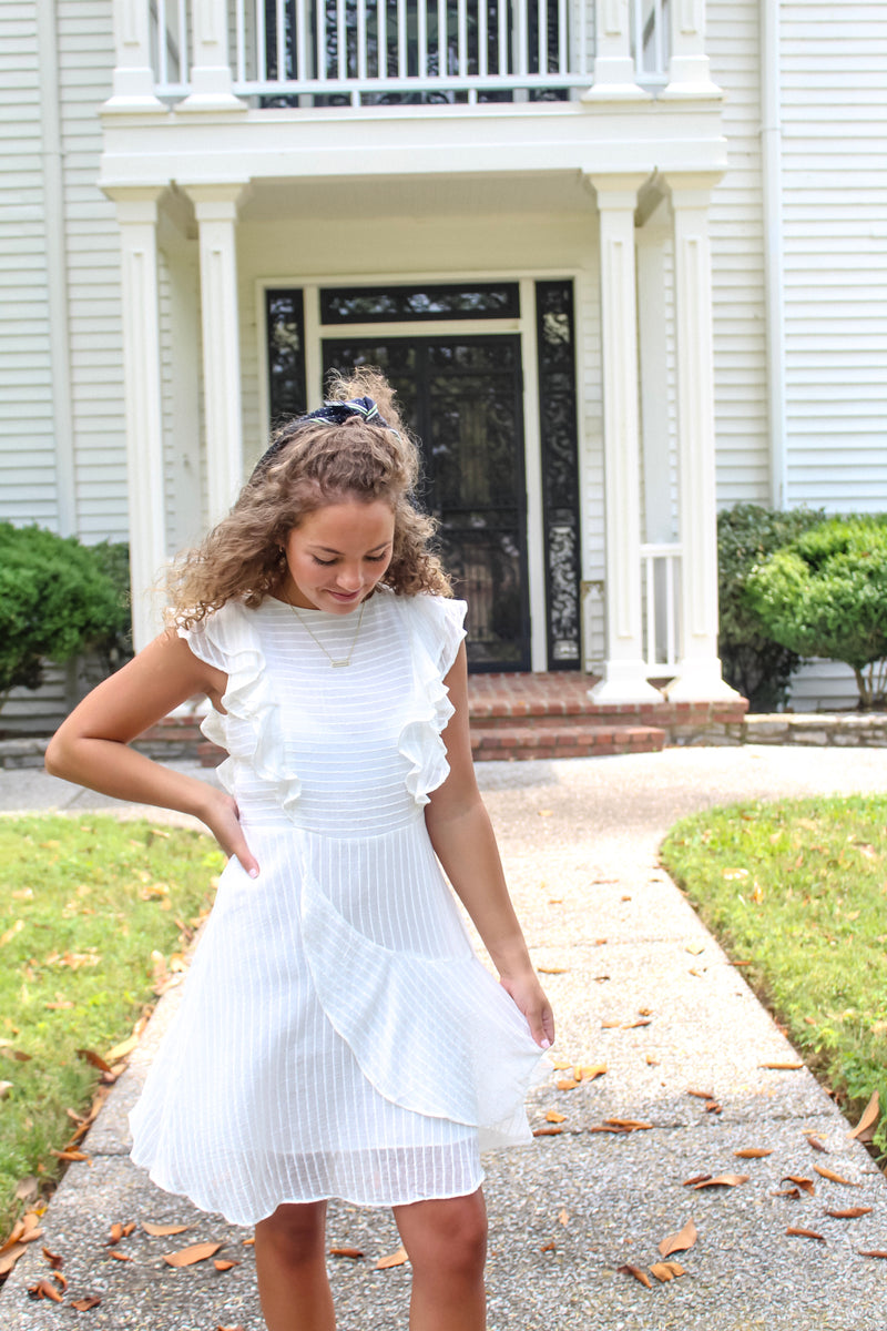 Wendy White Ruffle Dress